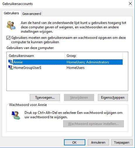 windows 10 zonder wachtwoord